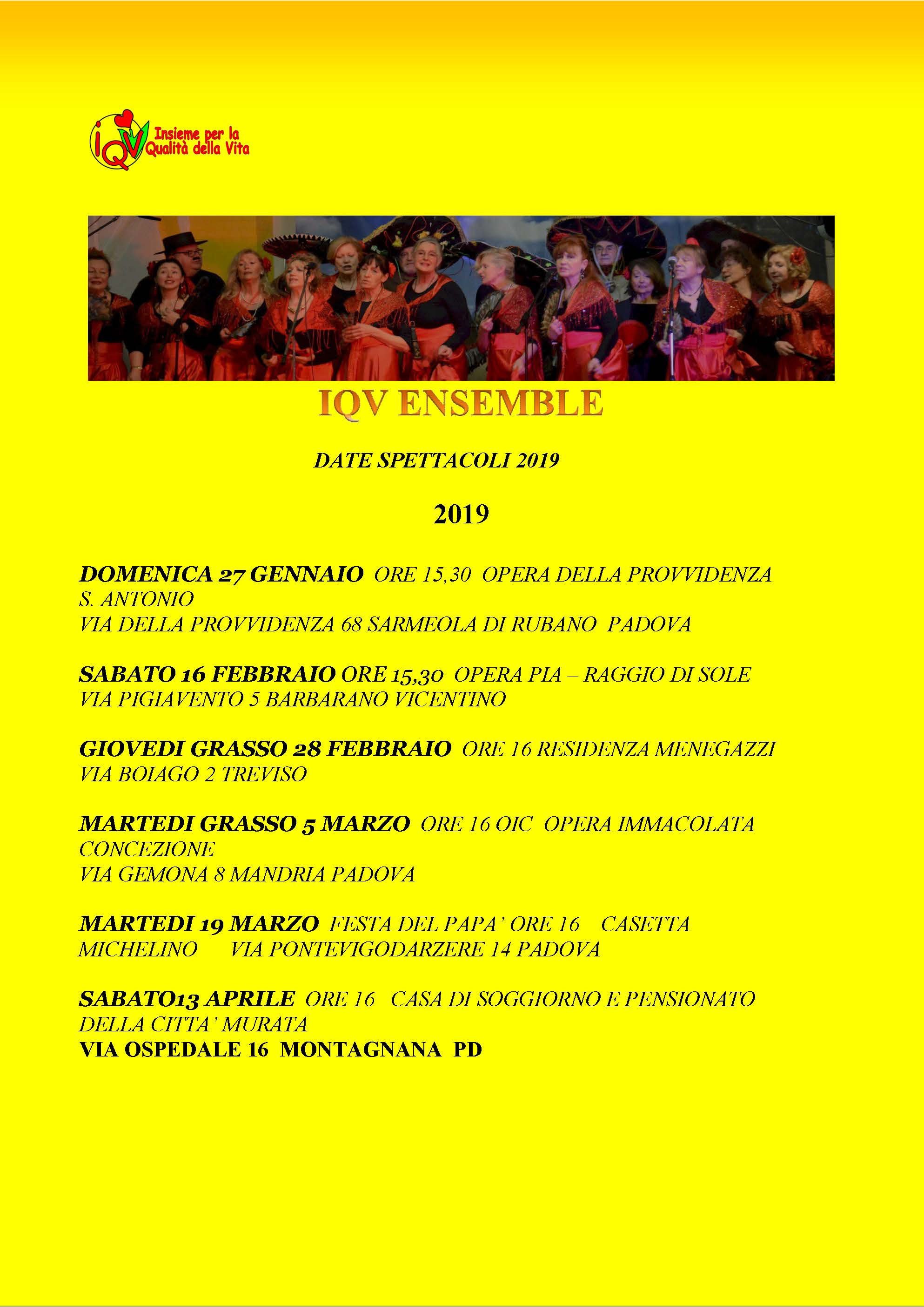 Calendario eventi IQV Ensemble 2019